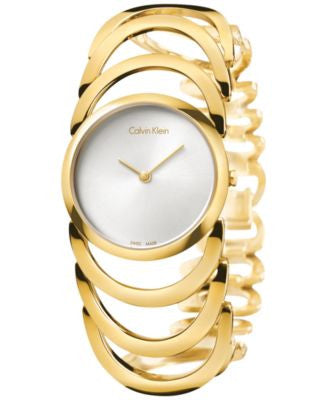 Calvin Klein Women's Swiss Body Gold PVD Stainless Steel Bracelet Watch 30mm K4G23526