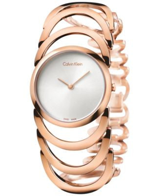 Calvin Klein Women's Swiss Body Rose Gold PVD Stainless Steel Bracelet Watch 30mm K4G23626