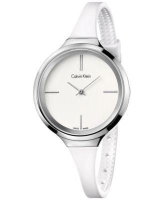 Calvin Klein Women's Swiss White Silicone Strap Watch 34mm K4U231K2