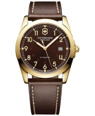 Victorinox Swiss Army Men's Automatic Infantry Brown Leather Strap Watch 40mm 241646