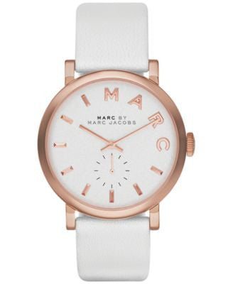 Marc by Marc Jacobs Women's Baker White Leather Strap Watch 36mm MBM1283