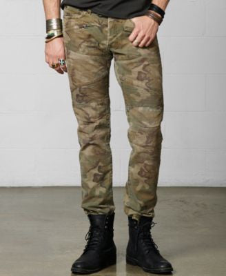 Denim & Supply Ralph Lauren Men's Slim Fit Camo Biker Jeans