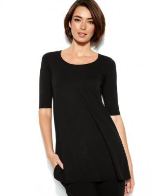 Eileen Fisher Three-Quarter-Sleeve Scoop-Neck Tunic