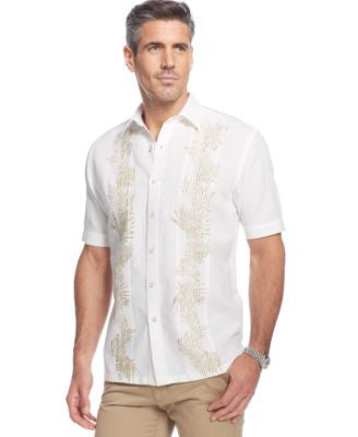 Tasso Elba Island Linen Palm Printed Pintucked Shirt