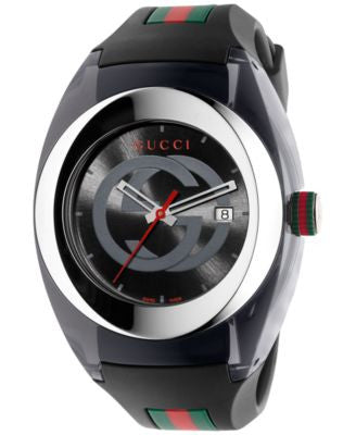 Gucci Sync Unisex Swiss Black Striped Rubber Strap Watch 46mm YA137101