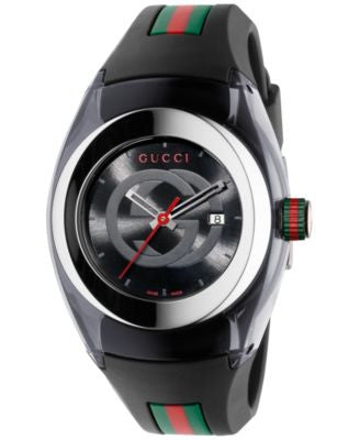 Gucci Sync Unisex Swiss Black Striped Rubber Strap Watch 36mm YA137301