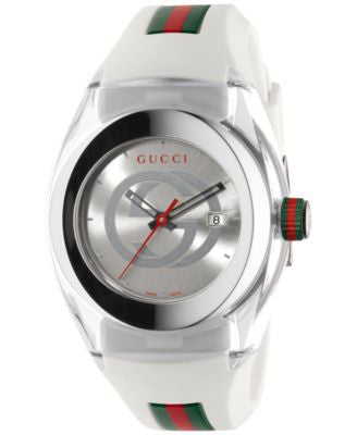 Gucci Sync Unisex Swiss White Striped Rubber Strap Watch 36mm YA137302