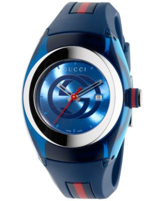 Gucci Sync Unisex Swiss Blue and Red Rubber Strap Watch 36mm YA137304