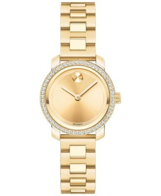 Movado Women's Swiss Bold Diamond (1/4 ct. t.w.) Gold-Tone Stainless Steel Bracelet Watch 25mm 36002