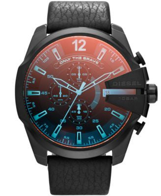 Diesel Men's Chronograph Mega Chief Iridescent Crystal Black Leather Strap Watch 51mm DZ4323