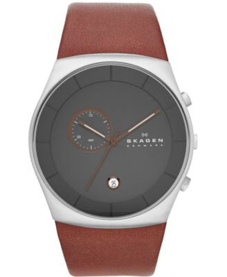 Skagen Men's Chronograph Brown Leather Strap Watch 42mm SKW6085