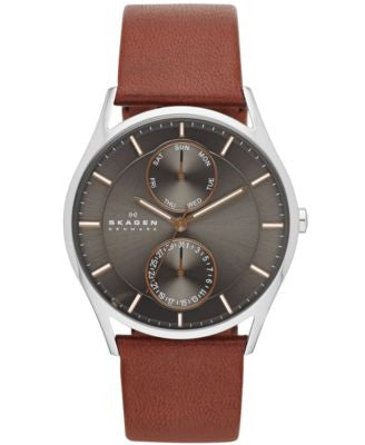 Skagen Men's Brown Leather Strap Watch 40mm SKW6086