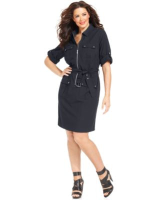 MICHAEL Michael Kors Plus Size Short-Sleeve Zip-Front Shirtdress