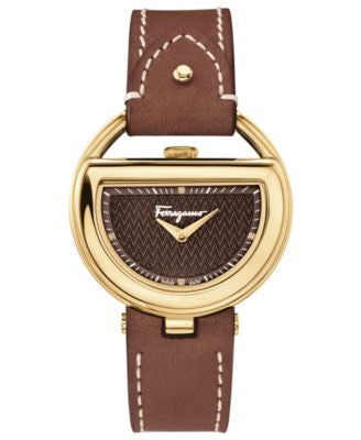 Ferragamo Women's Swiss Buckle Diamond Accent Brown Leather Strap Watch 37mm FG5060014