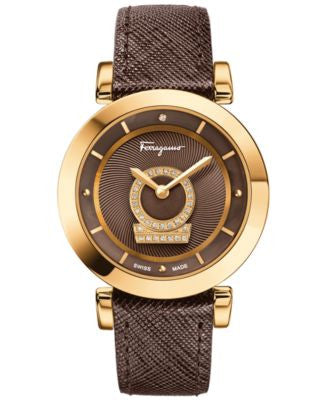 Ferragamo Women's Swiss Minuetto Diamond Accent Brown Saffiano Leather Strap Watch 37mm FQ4080013