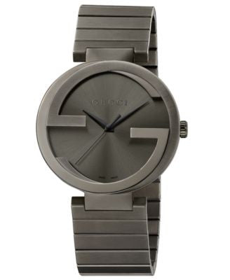 Gucci Unisex Swiss Interlocking Gray PVD-Finished Stainless Steel Bracelet Watch 42mm YA133210