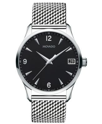 Movado Unisex Swiss Circa Stainless Steel Mesh Bracelet Watch 40mm 0606802