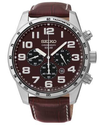 Seiko Men's Chronograph Solar Brown Leather Strap Watch 45mm SSC227