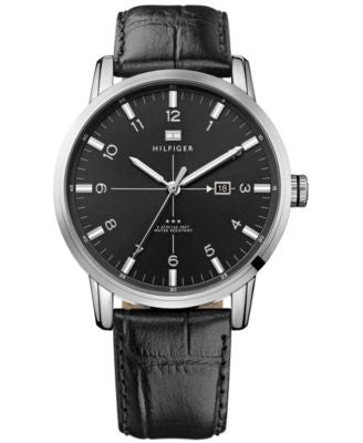 Tommy Hilfiger Men's Black Croco-Embossed Leather Strap Watch 44mm 1710330