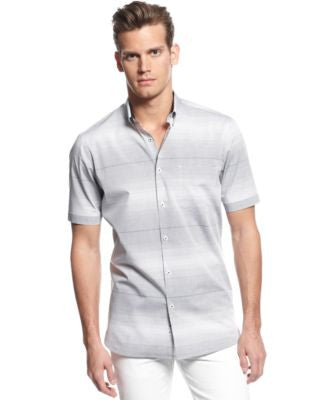 Alfani Big & Tall Slim-Fit Short-Sleeve Striped Shirt