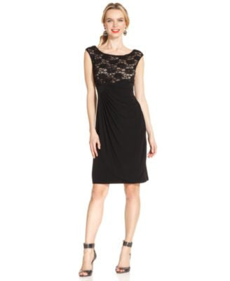 Connected Petite Sequined Lace Faux-Wrap Dress