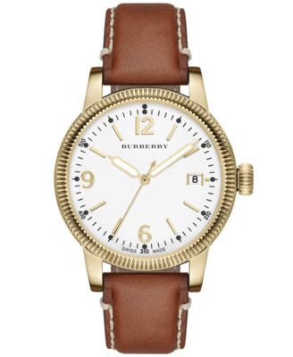 Burberry Women's Swiss Tan Leather Strap Watch 38mm BU7852