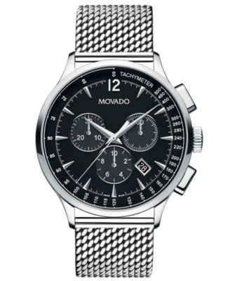 Movado Men's Swiss Chronograph Circa Stainless Steel Mesh Bracelet Watch 42mm 0606803