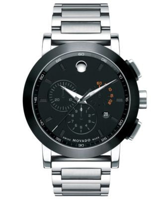 Movado Men's Swiss Chronograph Museum Sport Stainless Steel Bracelet Watch 44mm 0606792