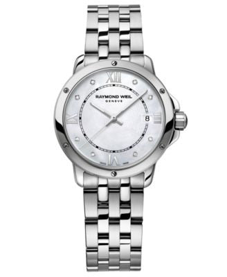 RAYMOND WEIL Women's Swiss Tango Diamond Accent Stainless Steel Bracelet Watch 28mm 5391-ST-00995