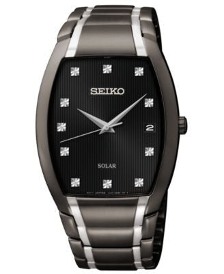 Seiko Men's Solar Diamond Accent Black Ion-Finished Stainless Steel Bracelet Watch 35mm SNE335