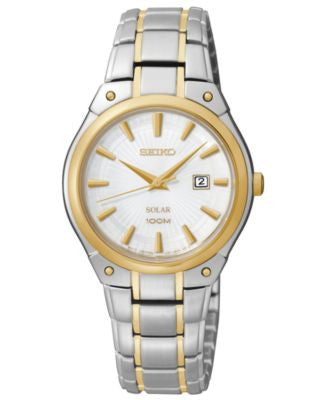 Seiko Women's Solar Two-Tone Stainless Steel Bracelet Bracelet Watch 30mm SUT128