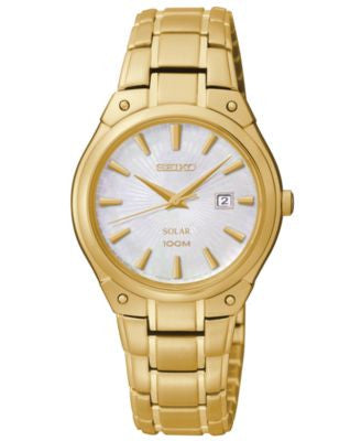Seiko Women's Solar Gold-Tone Stainless Steel Bracelet Watch 30mm SUT130
