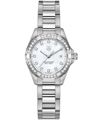 TAG Heuer Women's Swiss Aquaracer Diamond (9/20 ct. t.w.) Stainless Steel Bracelet Watch 27mm WAY141