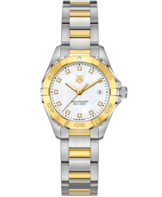 TAG Heuer Women's Swiss Aquaracer Diamond Accent 18k Gold-Capped Stainless Steel Bracelet Watch 27mm