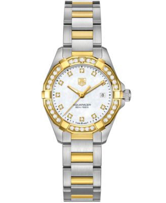 TAG Heuer Women's Swiss Aquaracer Diamond (9/20 ct. t.w.) 18k Gold-Capped Stainless Steel Bracelet W