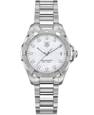 TAG Heuer Women's Swiss Aquaracer Diamond Accent Stainless Steel Bracelet Watch 32mm WAY1313.BA0915