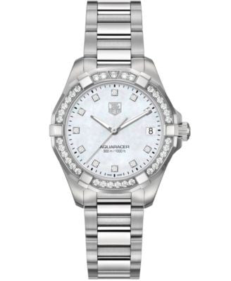 TAG Heuer Women's Swiss Aquaracer Diamond (9/20 ct. t.w) Stainless Steel Bracelet Watch 32mm WAY1314
