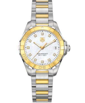 TAG Heuer Women's Swiss Aquaracer Diamond Accent 18k Gold-Capped Stainless Steel Bracelet Watch 32mm