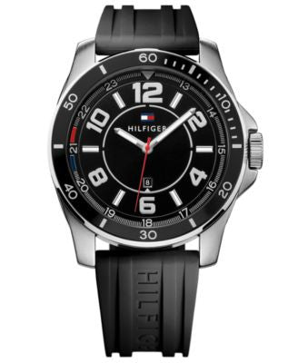 Tommy Hilfiger Men's Black Silicone Strap Watch 46mm 1791046