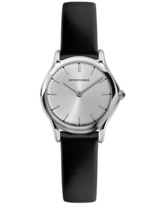 Emporio Armani Women's Swiss Black Leather Strap Watch 28mm ARS7013