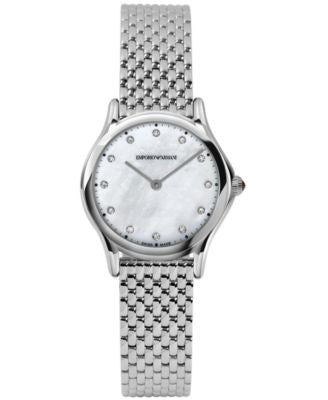 Emporio Armani Women's Swiss Diamond Accent Stainless Steel Bracelet Watch 28mm ARS7501