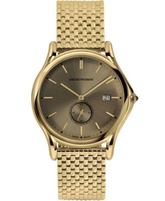 Emporio Armani Men's Swiss Gold Ion-Plated Stainless Steel Bracelet Watch 40mm ARS1008