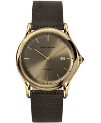 Emporio Armani Men's Swiss Automatic Dark Brown Leather Strap Watch 42mm ARS3004