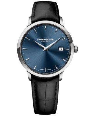 RAYMOND WEIL Men's Swiss Toccata Black Leather Strap Watch 39mm 5488-STC-50001 - A Vogily Exclusive