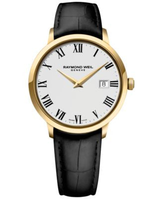RAYMOND WEIL Men's Swiss Toccata Black Leather Strap Watch 39mm 5488-PC-00300