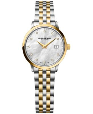 RAYMOND WEIL Women's Swiss Toccata Diamond Accent Two-Tone Stainless Steel Bracelet Watch 29mm 5988-