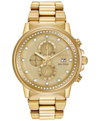 Citizen Unisex Chronograph Nighthawk Eco-Drive Gold-Tone Stainless Steel Bracelet Watch 42mm FB3002-