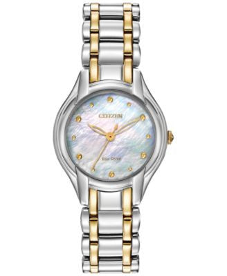 Citizen Women's Silhouette Eco-Drive Two-Tone Stainless Steel Bracelet Watch 27mm EM0284-51N
