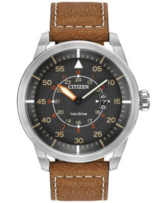 Citizen Men's Eco-Drive Brown Leather Strap Watch 45mm AW1361-10H