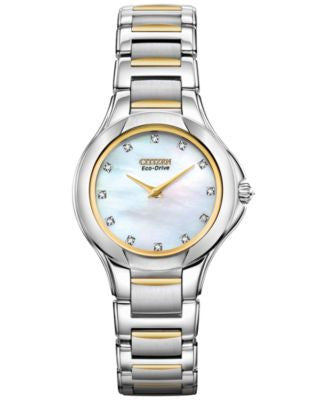 Citizen Women's Fiore Eco-Drive Diamond Accent Two-Tone Stainless Steel Bracelet Watch 30mm EX1184-5